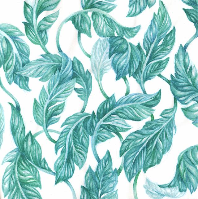 blågröna löv i akvarell mönster