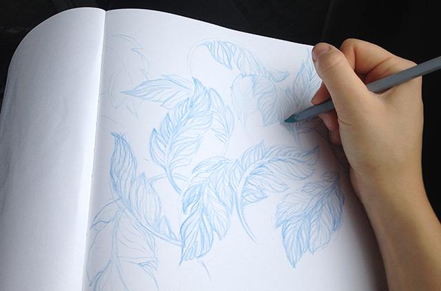 blågröna löv i akvarell