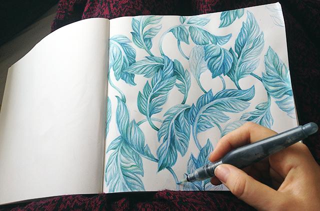 blågröna löv i akvarell 3