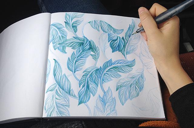 blågröna löv i akvarell 2